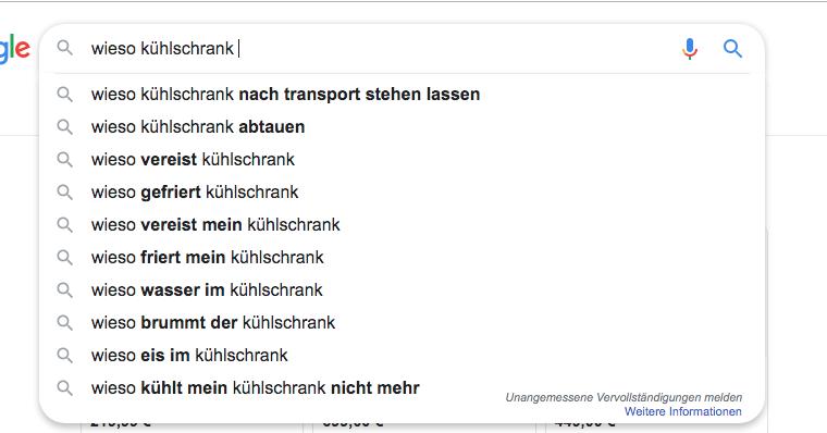 Screenshot einer Google-Suche zum Thema Kühlschrank