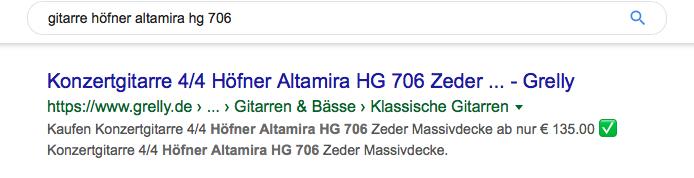 Screenshot einer Metabeschreibung in den Suchergebnissen einer Verkaufsanzeige für Gitarren