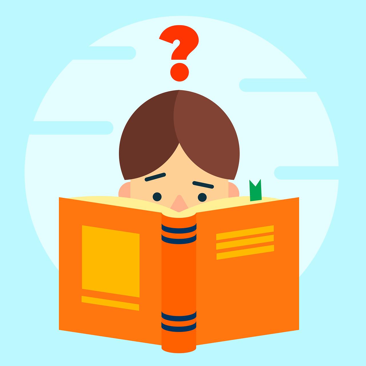 Zeichnung einer jungen Leserin, die ein Buch vors Gesicht hält und über deren Kopf ein Fragezeichen schwebt.