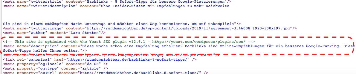Meta-Description im Kopfbereich einer HTML-Seite