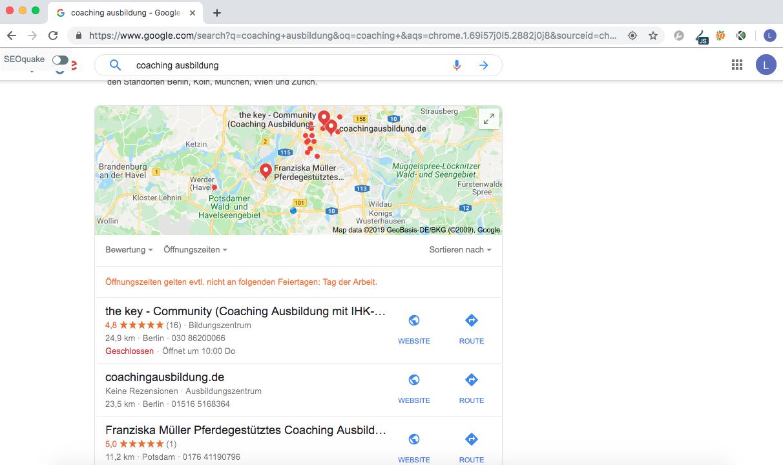 Beispiel einer lokalen Suchergebnisliste bei Google