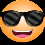 Lachender Smiley mit Sonnenbrille