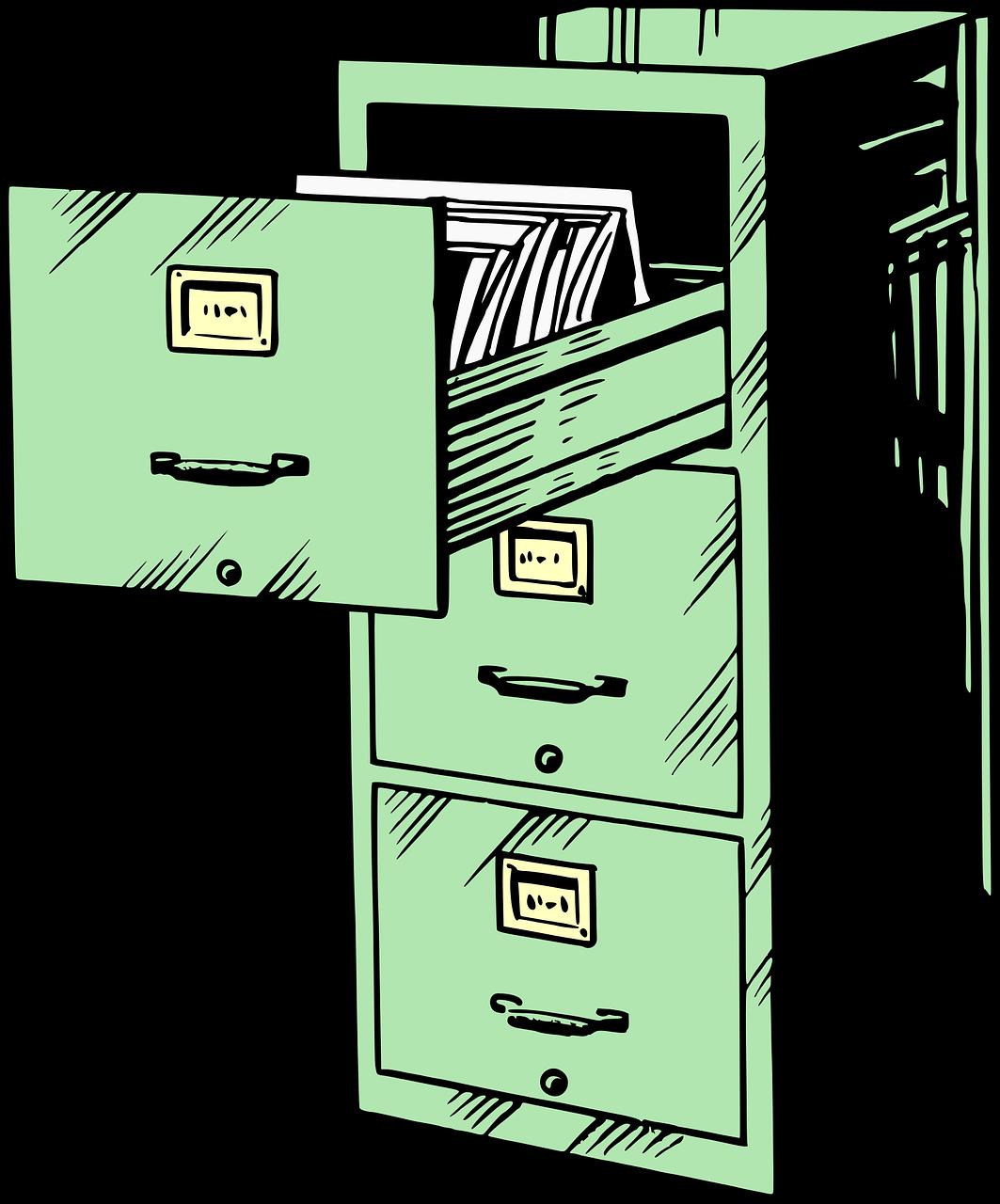 Grüner Aktenschrank, bei dem die oberste Schublade aufgezogen ist.