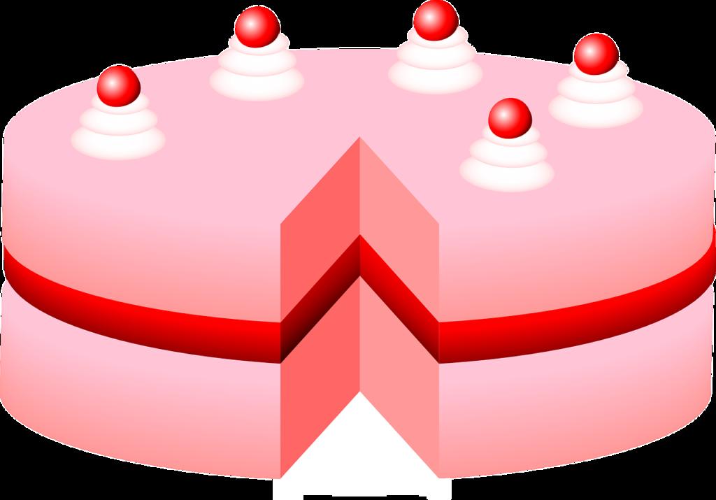 pinkfarbene Torte mit Kirschen
