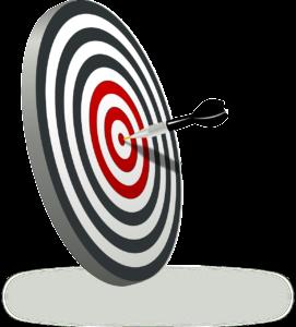 Darts-Scheibe mit einem Pfeil im Bullseye.