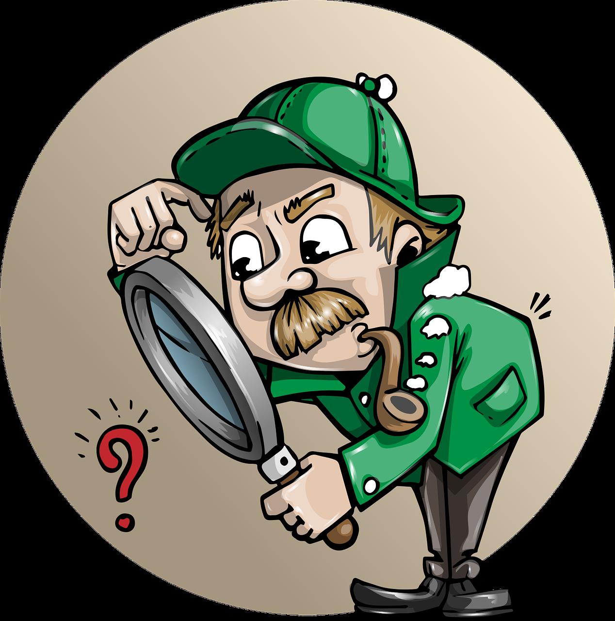 Detektiv schaut durch eine Lupe auf ein Fragezeichen