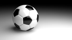 Ein schwarz-weißer normaler Fußball.
