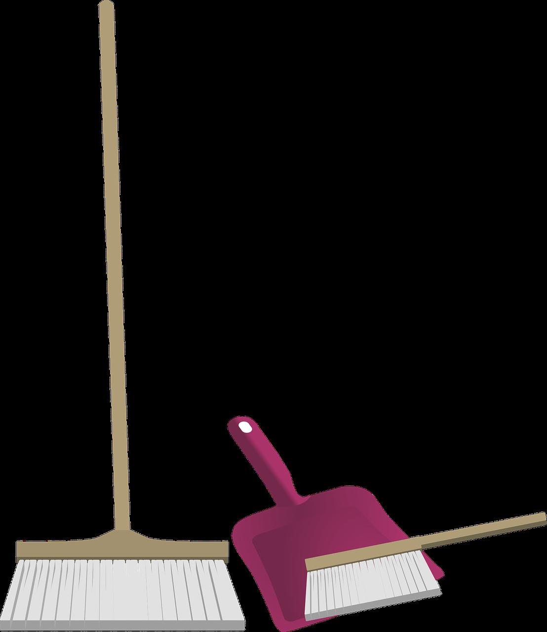 Zeichnung von Besen und Kehrblech