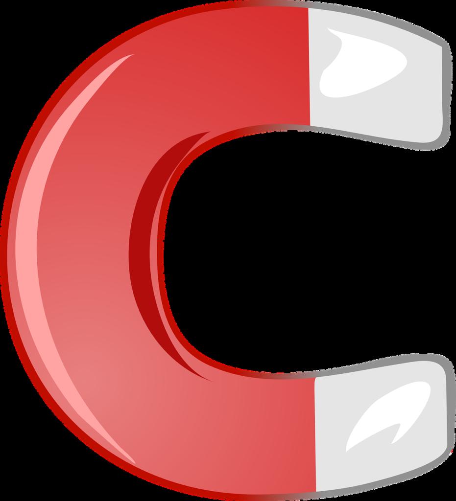 Zeichnung eines hufeisenförmigen roten Magneten