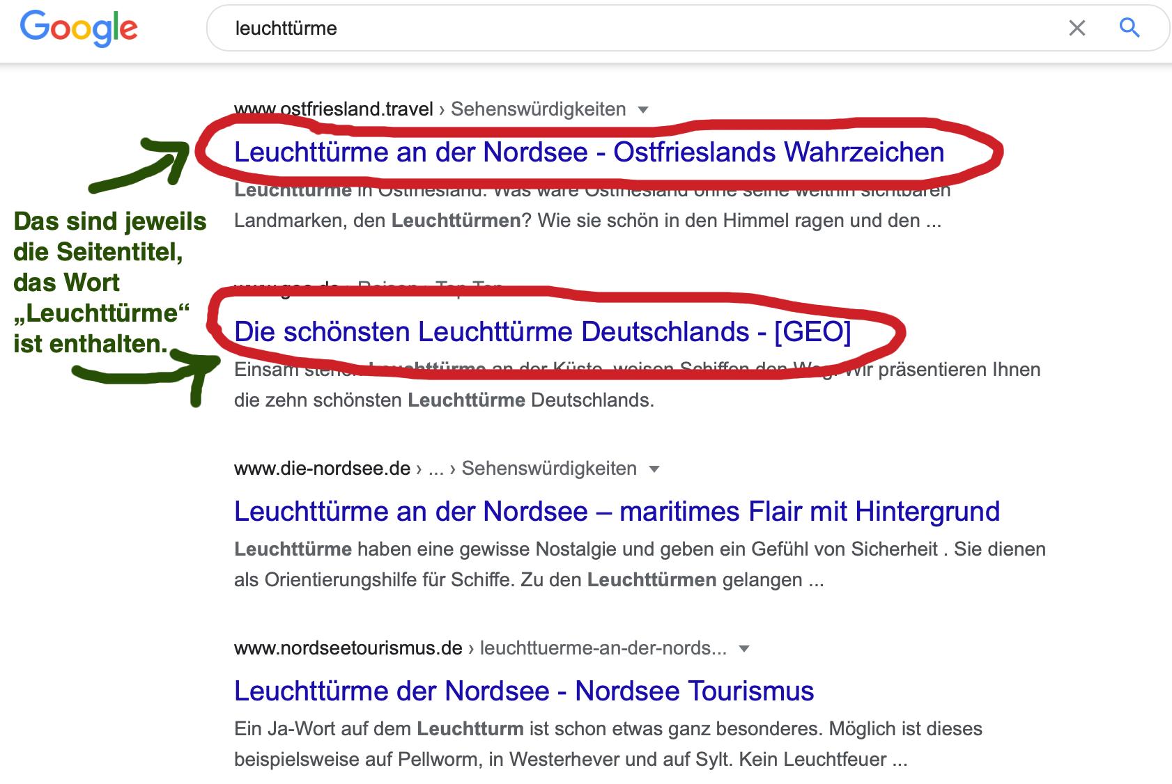 Screenshot von Google-Suchergebnissen zum Thema Leuchttürme - der Seitentitel ist markiert.