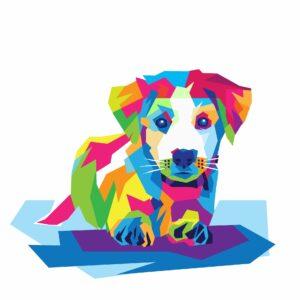 Gezeichneter Hund, bunt koloriert
