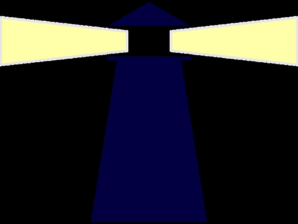Zeichnung eines Leuchtturms, dessen Lichtkegel stark herausstrahlen