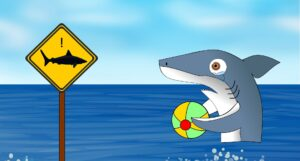 """Zeichnung: Hai schaut verdutzt beim Baden auf ein """"Achtung Hai""""-Schild"""