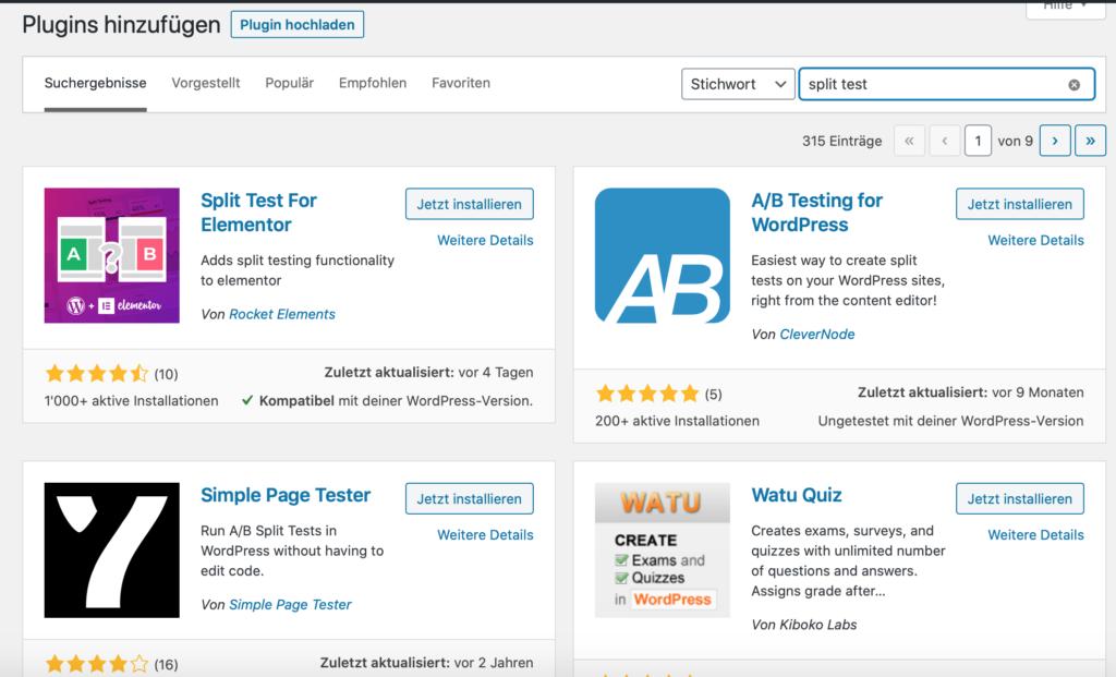 Screenshot von Wordpress-Plugins zum split test