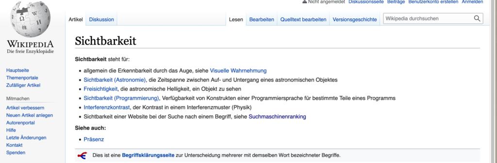 """Screenshot von Wikipedias Ergebnissen für das Suchwort """"Sichtbarkeit"""""""