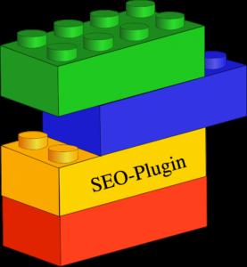 """verschiedenfarbige Lego-Steine, von denen einer mit """"SEO-Plugin"""" beschriftet ist."""