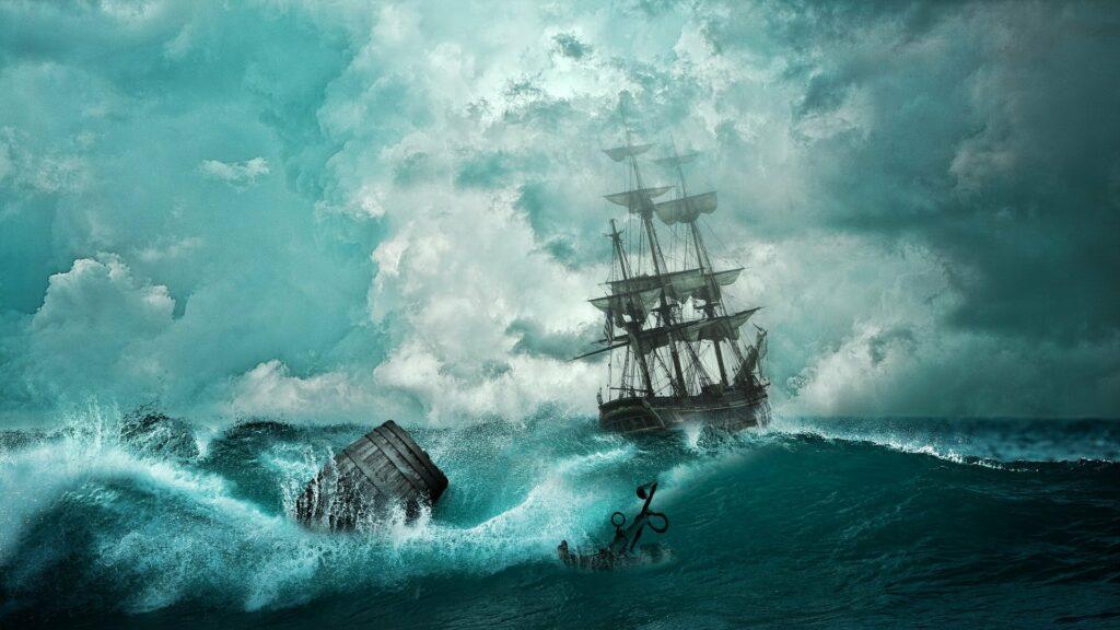 Gemälde eines Segelschiffes in tosender See